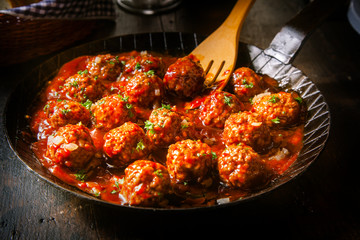 Delicious meatballs in a spicy tomato sauce
