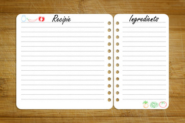 recipe page template on wooden cutting board with vegetables