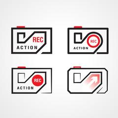 action video camera symbol emblem sign, set