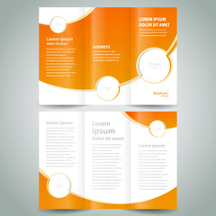 brochure design template orange white curves color