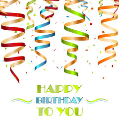 Colorful spiral ribbons, background for your birthday wishes