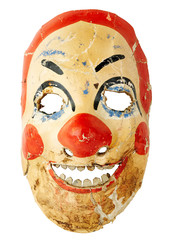 The old clown mask 50s on a white background isolated