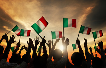 Group People Waving Italian Flags Back Lit Concept