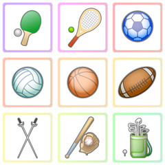 Colorful set of different characters playing sports in the form