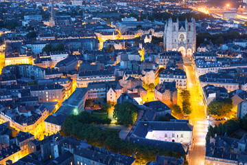 Nantes city at a summer night Fototapete
