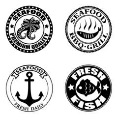 Set of seafood logos,badges, labels and design elements.