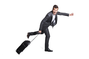 Happy Business Man leaving with his hand luggage