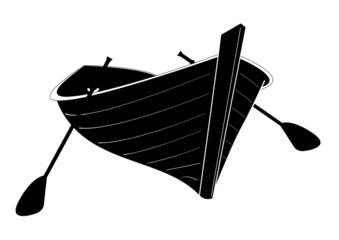 Barque en bois - ombre noire