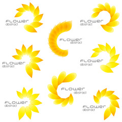 Beautiful summer flower icon set, abstract flower shapes