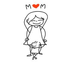 hand drawing cartoon happy mom