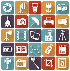 Photo flat icons. Vector set.