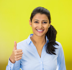 Portrait woman, student, customer giving thumbs up sign