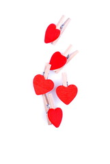 hearts and flowers to Valentine isolated on white background wit