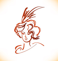Sketch of woman face in vintage style. Vector lady portrait