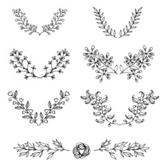 Set of нand-drawn vintage floral branches and design elements