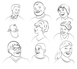 Smiling and Laughing Faces, Vector Illustration