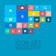 Flat set of icons