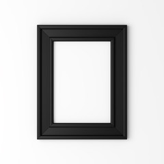 blank black photo frame on white wall