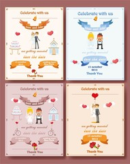 Свадебные приглашения карты с дизайн шаблона элемента