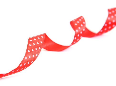 Decorative red ribbon design. Isolated on white