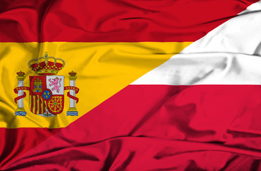 Waving flag of Poland and Spain