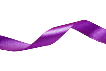 Violet ribbon. Isolated on the white background