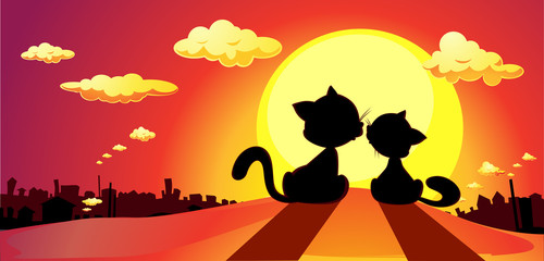 cats in love silhouette in sunset - vector illustration