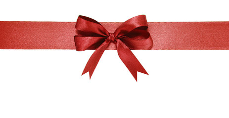 Red ribbon and bow.. Isolated