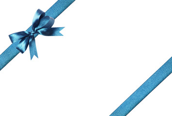 Magnificent blue fabric ribbon and bow. Isolated