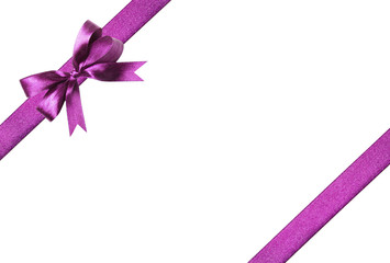 Violet ribbon and bow. Isolated on the white background