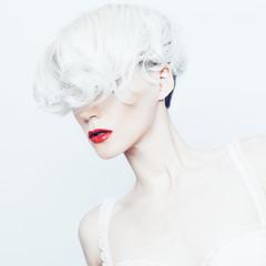 fashion Portrait a sensual blonde lady with stylish haircut