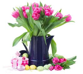 bunch of pink tulip flowers