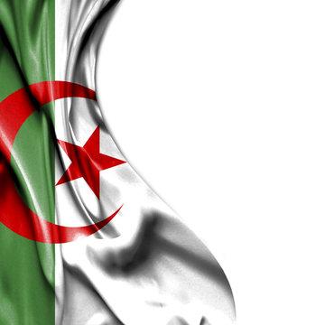 Algeria waving satin flag isolated on white background