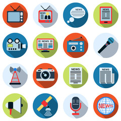 News flat vector icons