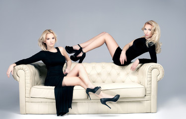 Elegant two woman posing.