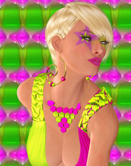 londe punk girl with star makeup and colorful background.