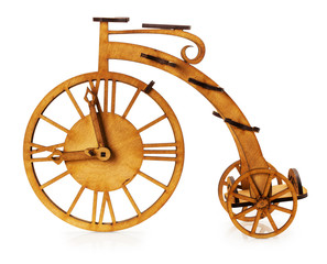 wooden decorative bike isolated on the white background