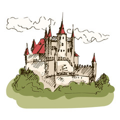 Hand drawn medieval castle. Vector illustration.
