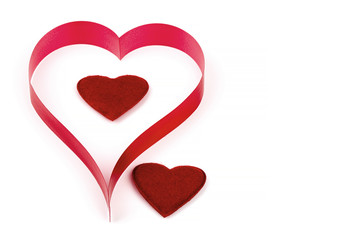 valentine's paper hearts on a white background