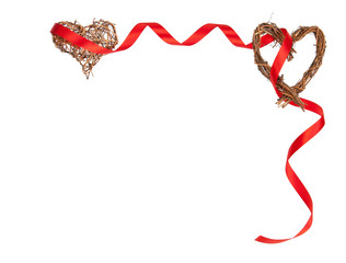 Isolated Romantic Frame of Wooden Hearts and Red Ribbon