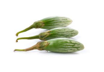 Fresh green eggplants on white background