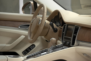 light interior of luxury car