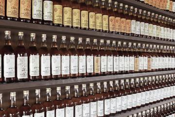 Prachuap Khiri Khan - NOVEMBER 16: Thai whiskey bottle arranged