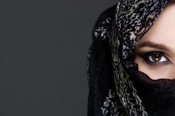 Beautiful girl wearing a niqab