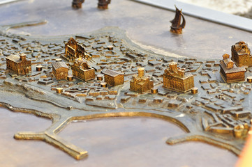 Parts of a miniature metal map of the city Nessebar, Bulgaria