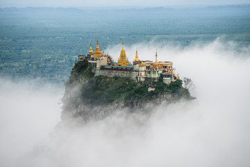 Mount Po-pa with fog, the old volcano in Myanmar