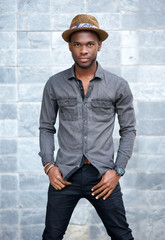 African american male fashion model with hat