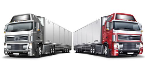 Zwei Truck,  mit Auflieger in Grau, rot weiß, freigestellt