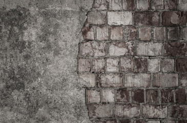 Fototapete - Empty cracked brick wall with copy space