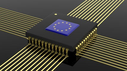 Computer CPU with EU flag isolated on black background
